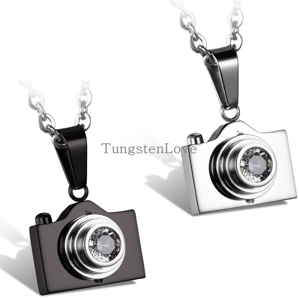 2015 New Fashion Jewelry Camera Necklaces Pendants Hot Sale Black / Silver Colors Lovely Stainless Steel Fashion Designer Bijoux
