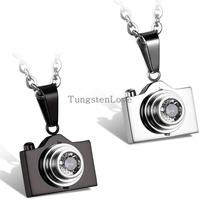 2015 New Fashion Jewelry Camera Necklaces Pendants Hot Sale Black Silver Colors Lovely Stainless Steel Fashion