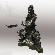 Big Sculpture!!!High:15inch!!!Collectible Chinese Copper Carved Guan Gong Sculpture, Guan Gong Knife statue /Kung Fu Guan Gong