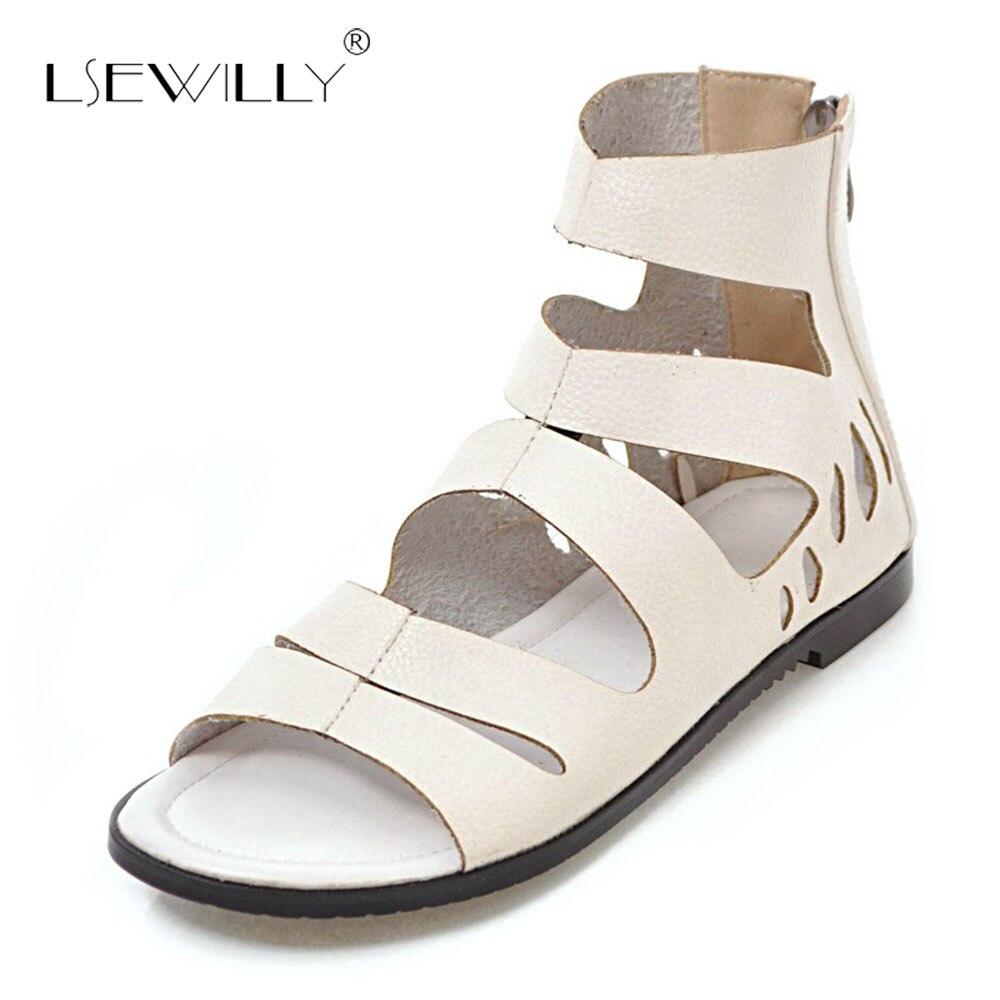 Lsewilly femme chaussures bout ouvert Roma gladiateur chaussures appartements 4 couleurs femmes sandales 2018 été doux chaussures décontractées taille 31-43 S130