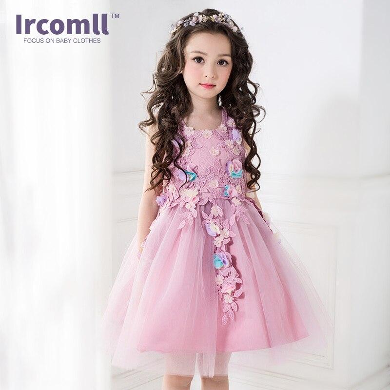 Wedding Costume Kids Infant Girl Flower Petals Dress Children Bridesmaid Toddler Elegant Dress Pageant Tulle Formal Party Dress