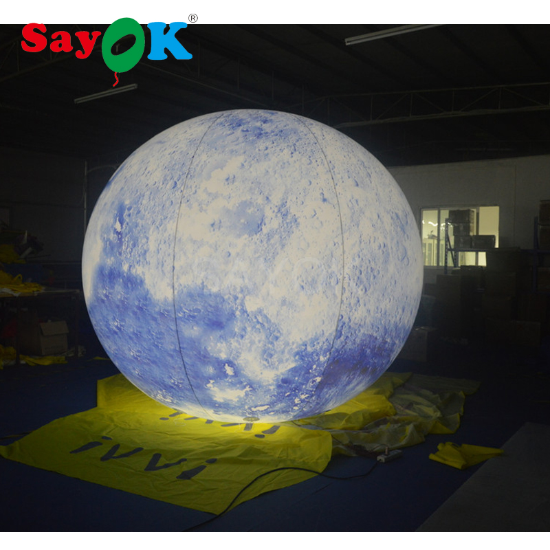 3m Giant advertising PVC inflatable light helium balloon inflatable moon globe ball for sale