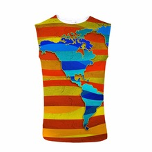 FORUDESIGNS Goril Tank Top 3D Map Design Print  Men Sleeveless Tee Bodybuilding Stringer Male Cowboy Streetwear Crew Neck personality 3d round neck gorilla print tank top for men