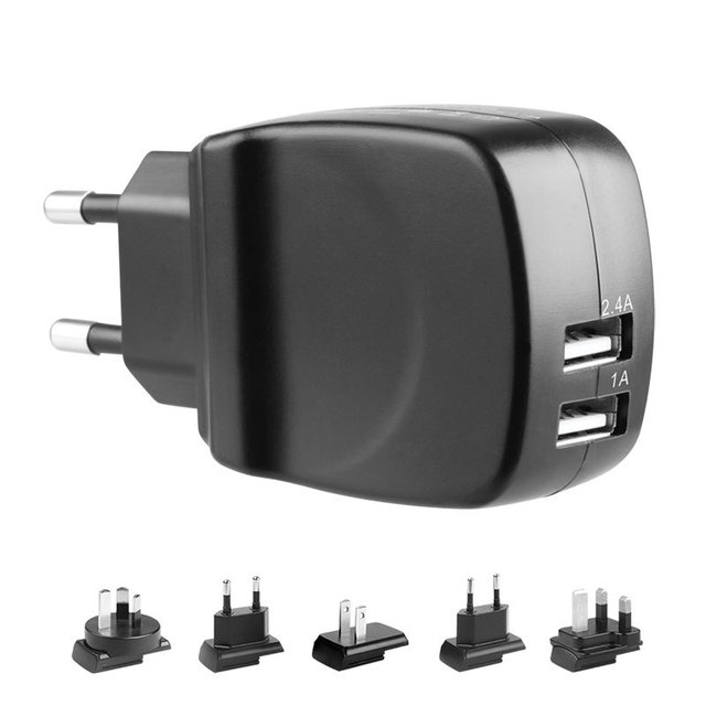 Chargeur mural double USB 5 V 2.4A + 1A AC pour iPhone 6 5 s 5 4 S iPad Samsung Galaxy S5 S4 S3 HTC MEIZU