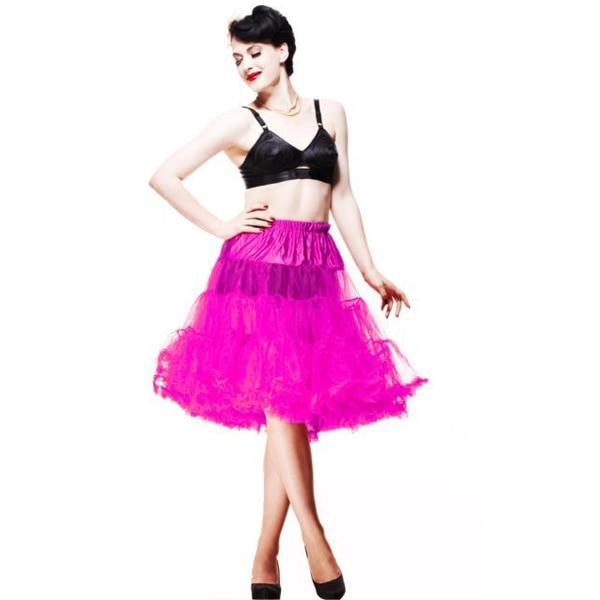 2015 Partihandel Kvinnor Mjuk Tyg 65 cm Lång Sexig Chiffong Petticoat Rockabilly Pettiskirt Tulle Tutu Kjol Slip Retro 20 Färger