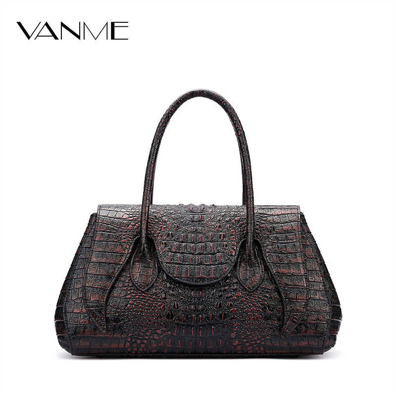 2017 Hot Selling Women Fashion Handbag Alligator Pattern Tote Bag Female Big Handbags Office Lady Famous Brands Top-handle Bags