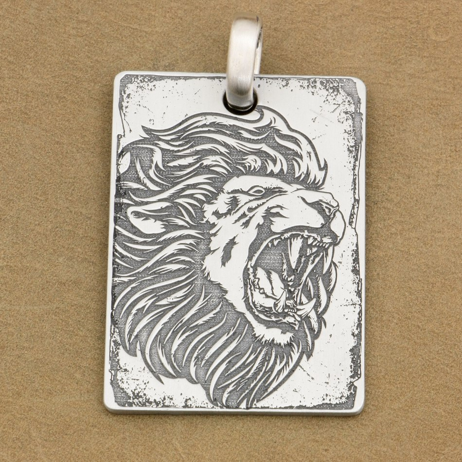 Deep Engraved High Detail Customizable 925 Sterling Silver Angry Lion Dog Tag Mens Biker Rocker Punk Pendant 9X010 JP deep engraved high detail custom solid 925 sterling silver cross mens biker rocker punk dog tag pendant 9x012 jp