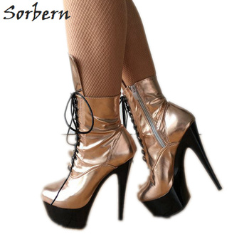 Sorbern Metallic Rose Gold Ankle Boots Exotic Dancer Shoes Crossdressing Boots Custom Colors High Heel Goth Shoes For Women