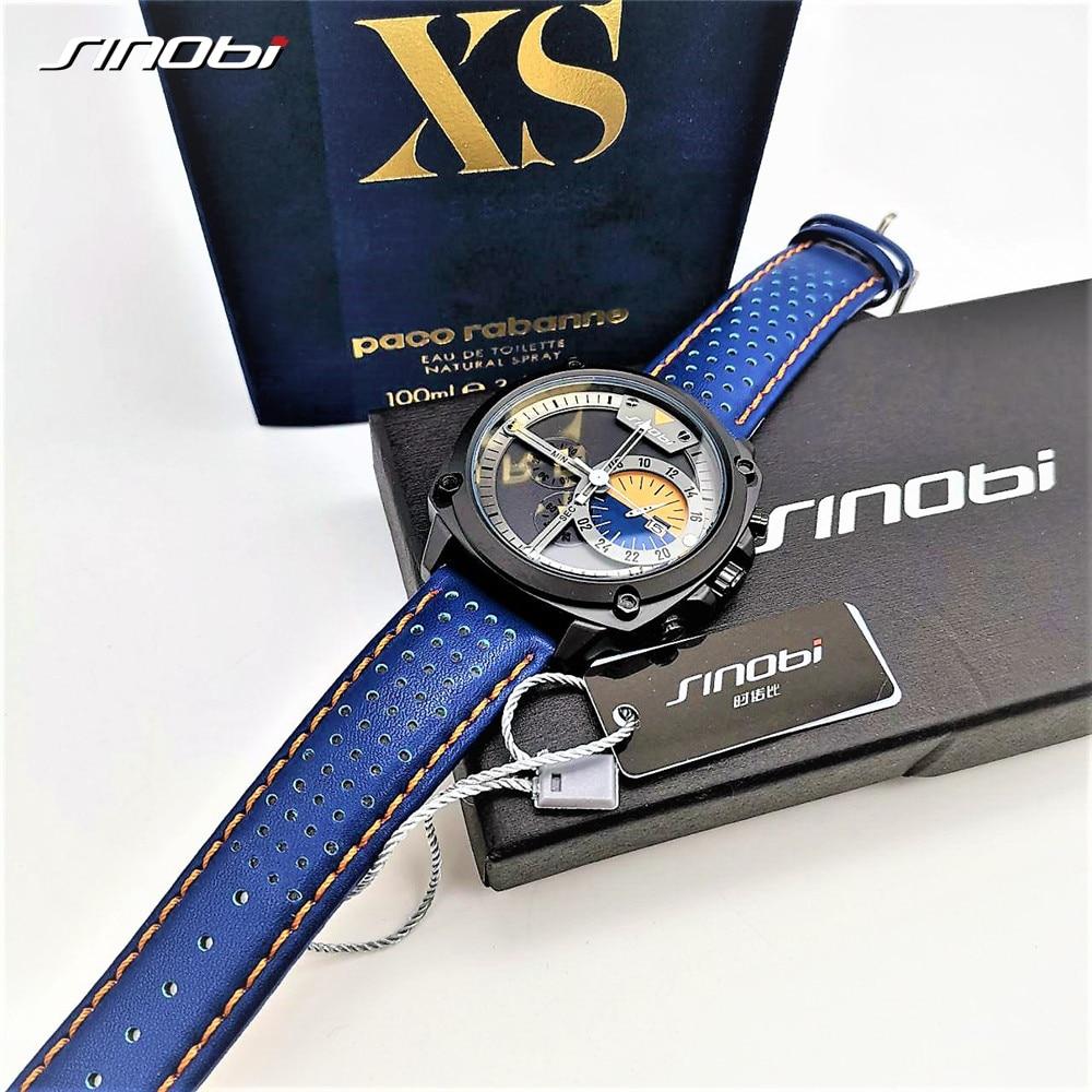Image 3 - SINOBI Mens Watches Top Luxury Brand Waterproof Sports Wrist Watch Chronograph Quartz Military Genuine Leather Relogio Masculino-in Quartz Watches from Watches