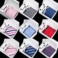 Muitos Estilos Novos Set Tie Hanky Abotoaduras Com Caixa de Presente Conjunto de Clipes de Gravata Tecido Jacquard Gravatas Para Homens Festa de Casamento