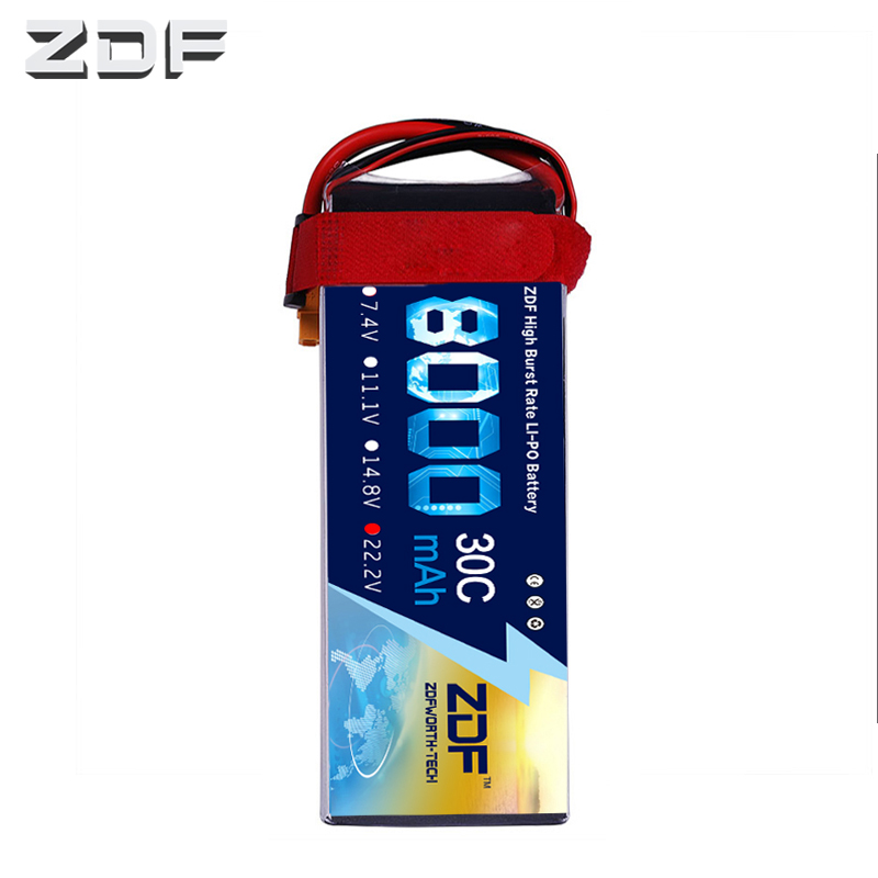 2018 ZDF Good Quality Lipo Battery 22.2V 6S 8000MAH 30C 60C RC AKKU Bateria for Airplane Helicopter Boat FPV Drone UAV