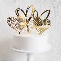 Feliz cumpleaños amor bandera Topper de la torta de carta de acrílico de plata de oro pastel superior bandera, decoración de fiesta de cumpleaños suministros de la boda