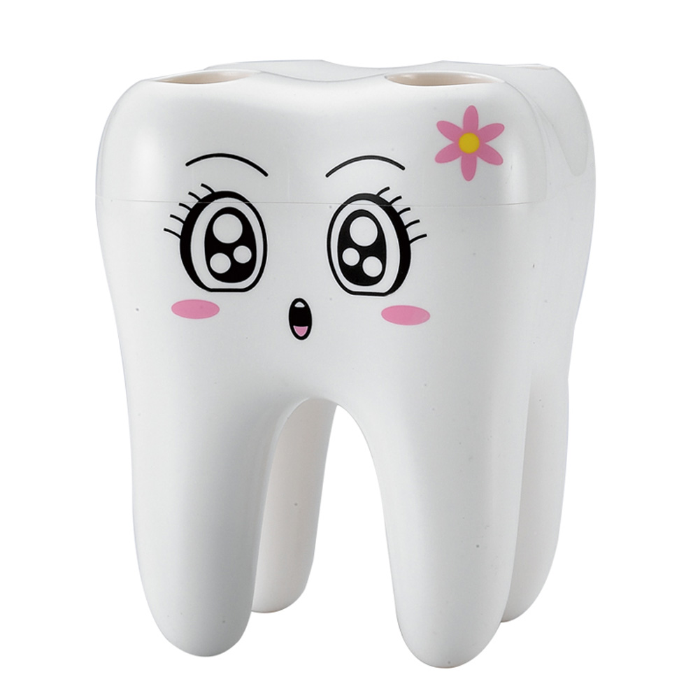 New Cartoon Toothbrush Holder Teeth Shape 4 Hole Grid