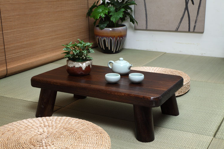 small japanese wood table traditional rectangle 6035cm paulownia asian antique furniture living room low - Low Dining Room Table