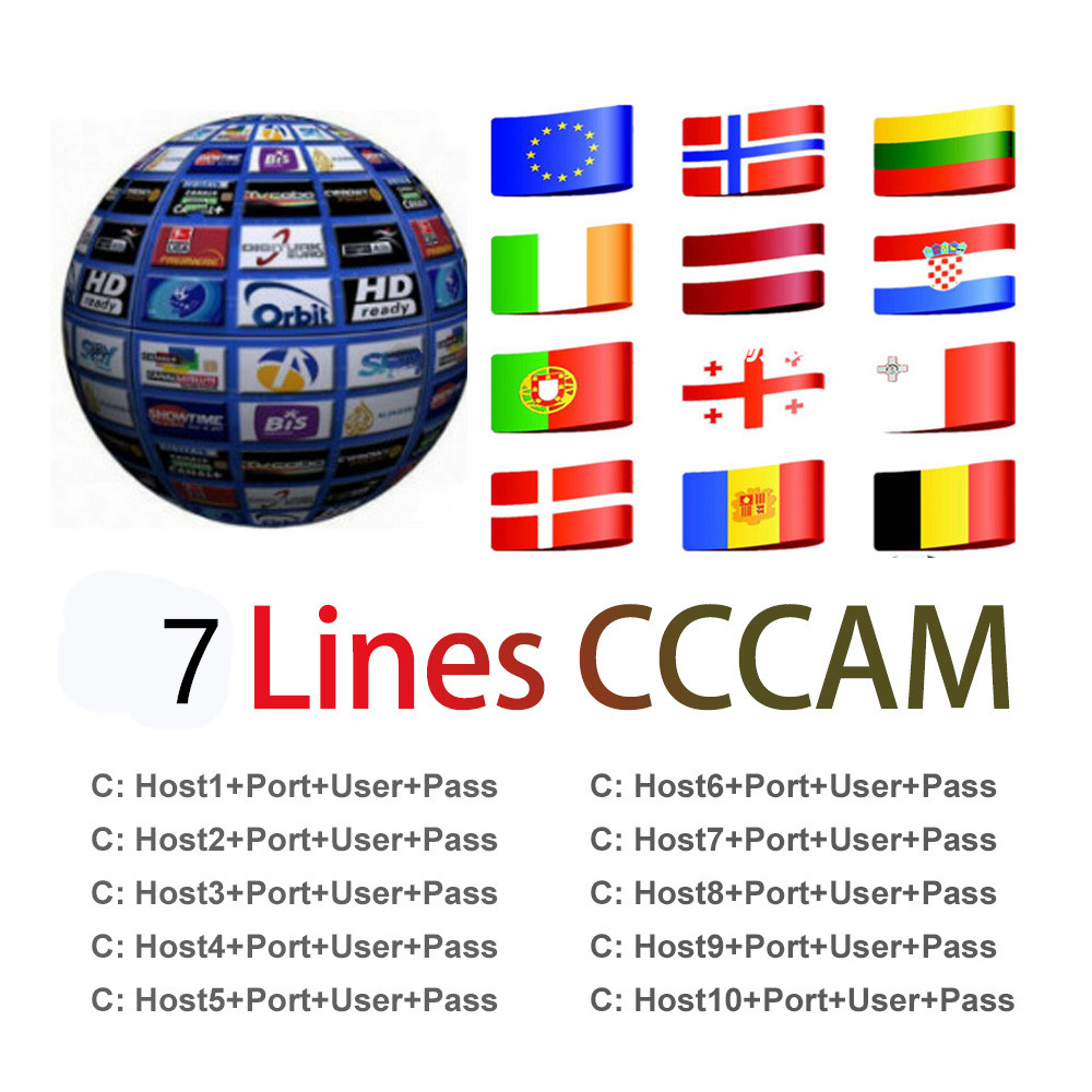1 Year Line Europe 7 Lines Card Sharing Server Mgcam Oscam Cccams For VU  Starsat Satellite TV Receiver Via Usb Wifi