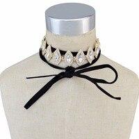 Bohemian Leather Chain Fashion Choker Necklace Horse Eyes Shape Crystal Rhinestone Necklaces For Women Bridal Wedding