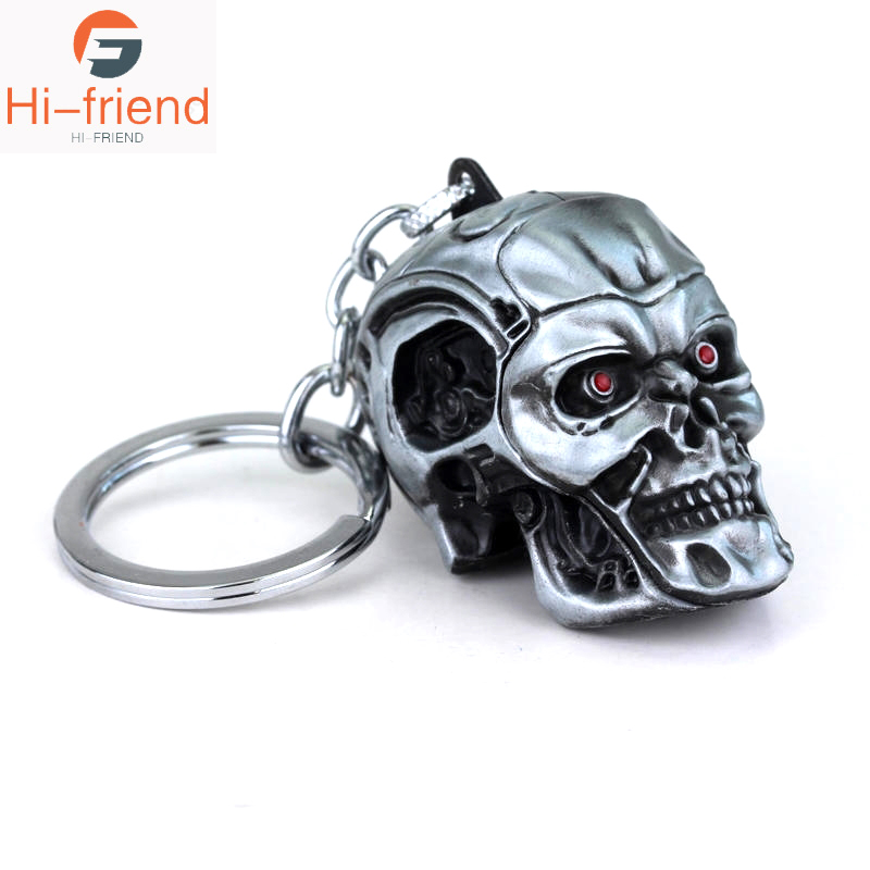 2019 Movie Terminator Keychain Cool Punk 3D Skull Head Shape Keychain Keyring Alloy Metal Terror Punisher Skull Key Rings Holder