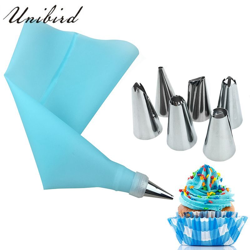 Unibird 8Pcs/Set Stainless Steel Pastry Nozzles for Cream with Pastry Bag Decorating Cake Icing Piping Confectionery Baking Tool(China)