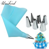 Unibird 8Pcs/Set Stainless Steel Pastry Nozzles for Cream with Pastry Bag Decorating Cake Icing Piping Confectionery Baking Tool|baking tips|piping cream pastry bag|kitchen baking -