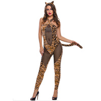 Black Fishnet Leopard Flannel Hot Sexy Cat Costume Adult Catwoman Bodysuit Halloween Costumes Cosplay Catsuit Jumpsuit