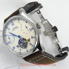43mm PARNIS energy display flywheel automatic mechanical men's watch
