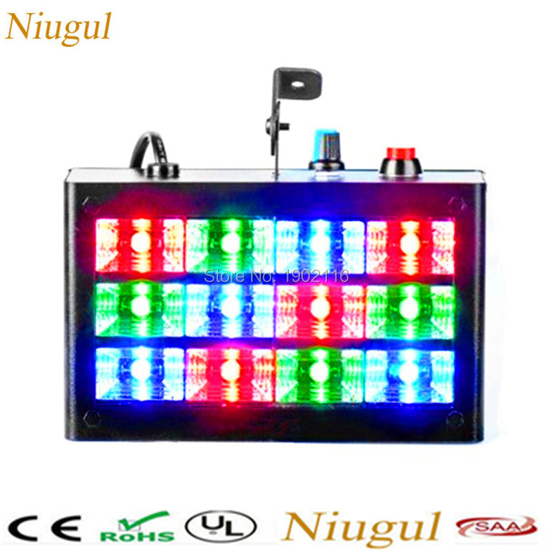 Niugul 2018 High brightness 12pcs RGB Strobe light Club Party Stage Effect lights /Ball Disco lighting RGB color LED Flash lamp niugul free shipping high brightness 80w led strobe light 80w led flash lamp for dj disco party ktv room club bar factroy sale