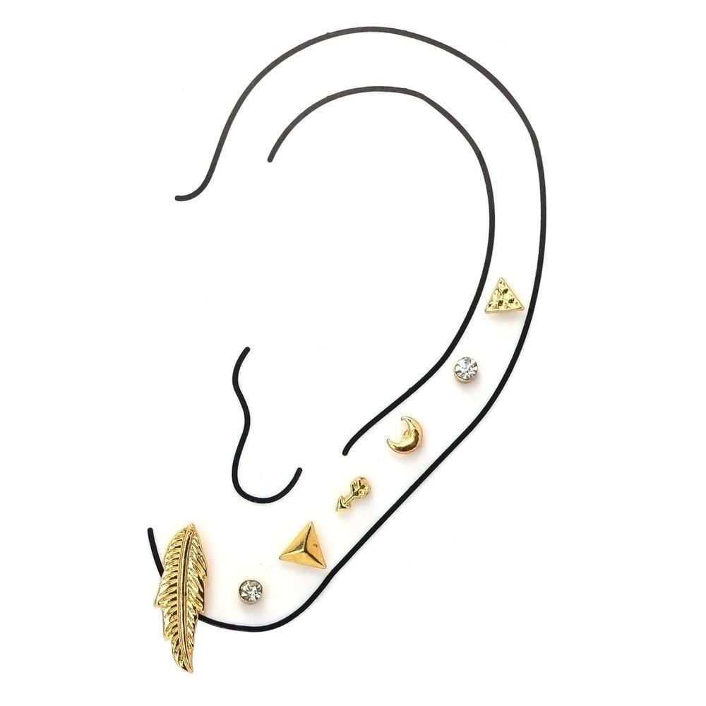 Gold Color Ctue Moon Triangle Transparent Rhinestone Stud Earrings Set Leaf  Ear Cuff Piercing Ears Clips