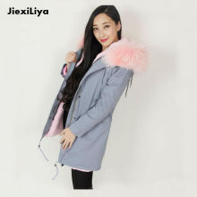 New Parka For Women Winter 2016 Gray Large Real Raccoon Fur Collar Long Coat Thicken Detachable Lining loose Jacket Good Quality