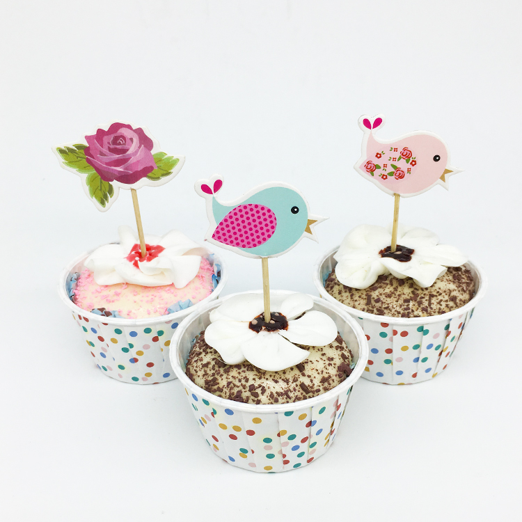24pcs/lot Flower Bird Cupcake Topper Picks Kid Bab Birthday Party Cake Decorations Baby Shower Food Picks Cake Topper Supplies art