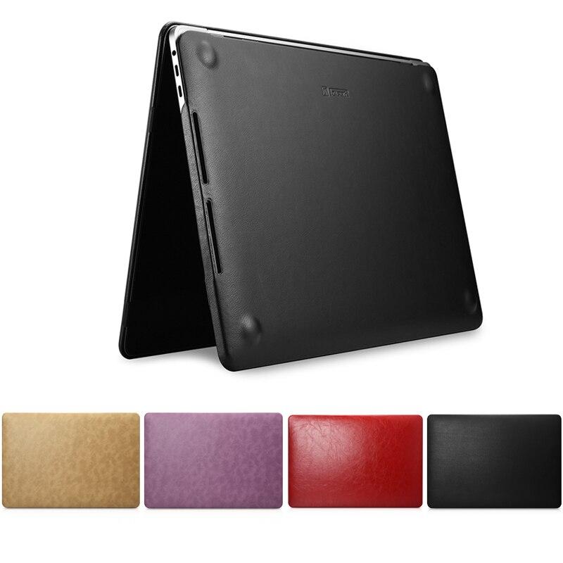 Icarer coque d'ordinateur portable pour Apple Macbook Pro 13 15 pouces A1706 A1708 A1989 A1707 A1990 2018 2017 coque mince en cuir synthétique