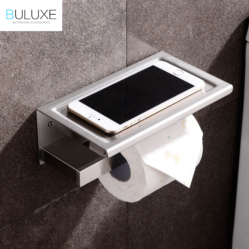 BULUXE Toilet Paper Phone Holders Roll Tissue WC Holder Brushed Stainless Steel Wall Mounted Bathroom Accessories IFG729 european black copper tissue roll holder vintage brushed toilet paper holder paper box wall mounted bathroom accessories j33