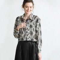 2019 spring new high end shirt female sense python long sleeved shirt fashion boutique women's clothing