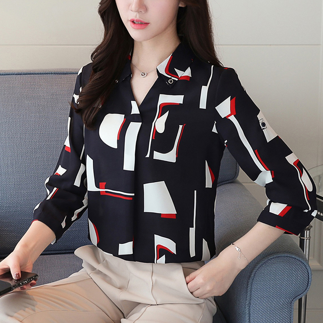 521437c294924 2018 New Autumn Women Shirts Loose Print Full Sleeve Chiffon Slim Blouse  Shirt 5911