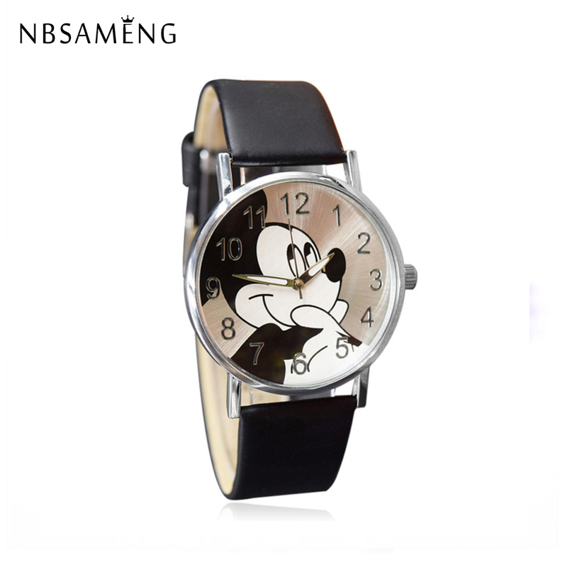 New Women Watch Mickey Mouse Pattern Fashion Quartz Watches Casual Cartoon Leather Clock Girls Kids Wristwatch Relogio Feminino new 2015 led watch women kids watch fashion casual cartoon watches colorful rainbow girls