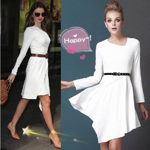 Brand Hot Jennifer Lopez Star Long Sleeve Dress Women Clothing Summer New Fashion Plus Size Knee Length Dresses Ld0060 In From S