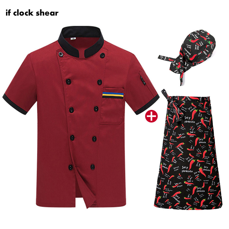 IF Unisex Food Service Short Sleeve Chef Jacket Work Clothes Men High Quality Restaurant Hotel Kitchen Uniforms Wholesale Summer