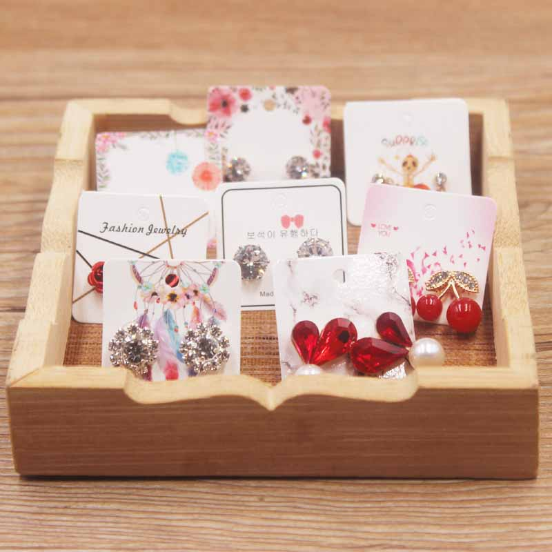 50pcss White Marble Jewelry Stud Earring Paper Package Tag Card DIY Handmade Dremacatcher/flower/romatic Heart Earring Card