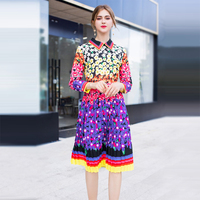 High Quality Autumn Floral Print Pleated Dress Pretty Hot Selling Full Sleeve Turn down Collar Knee Length Slim Cute Dress