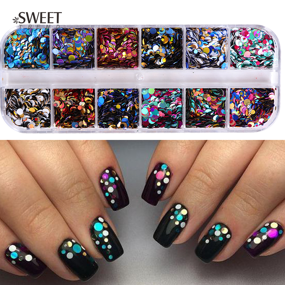 Nail Sequins Paillette Glitter-Tips Manicure-Nail-Flakes Round Shiny 3d-Decor Uv-Gel