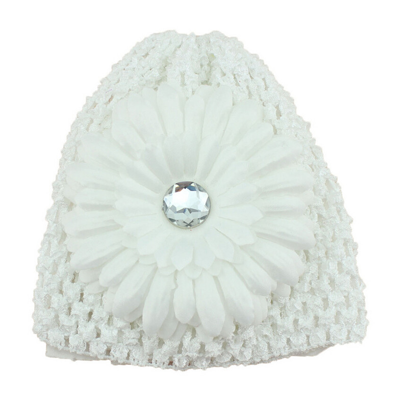Winter Warm Cute Baby Girl  Hand Crochet Beanie knitted Hat + Daisy Flower Clip Cap Accessories Cai0609 bomhcs cute big flower beanie winter lady s warm crochet knitted hat 10