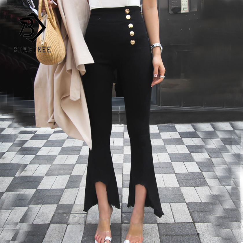 Rapture New Women High Waist Skinny Pants Flare Ripper Button Split Leg Opening Lady Sexy Elasticity Ankle-length Bottoms Hots B87706f Beneficial To Essential Medulla Women's Clothing