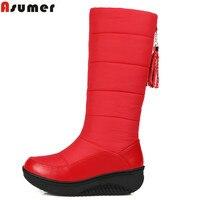 Black Blue Big Size 2015 New Fashion Russia Keep Warm Snow Boots Round Toe Platform Knee