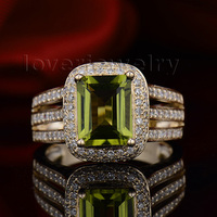 New Solid 14K Yellow Gold Diamond & Ravishing Peridot Ring Free Shipping SR0014