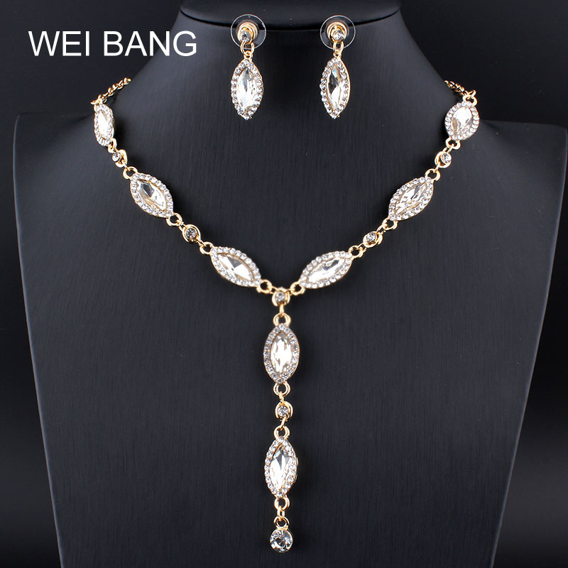 New Fashion Bridal Jewelry Sets Gold color Earrings Necklace Set Rhinestone Jewelry For Wedding Dress Shipping 2017