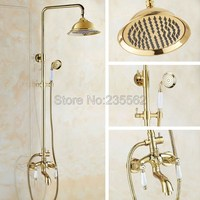 NEW Bathroom Rain Shower Faucet Set Gold Color Brass Finish Wall Mounted Tub Mixer Taps with 8.2 inch Large Shower Heads lgf433