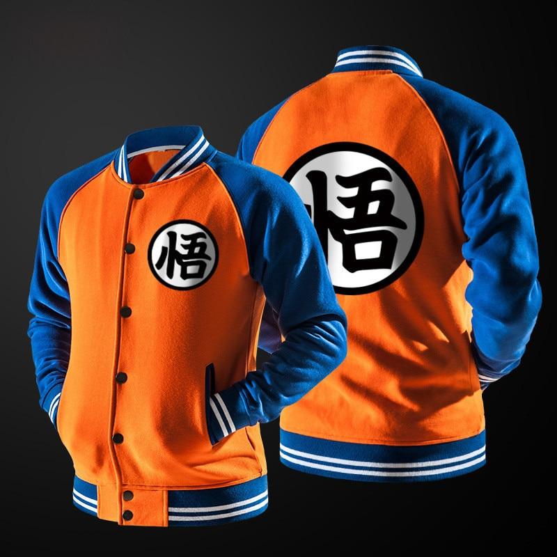 Men Jacket Coat Anime Dragon Ball Goku Varsity Jacket Male Single-breasted Stand Collar Hip Hop Baseball Overcoat