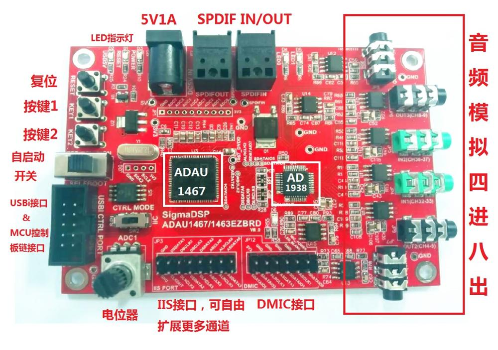 Nova placa de desenvolvimento ADAU1467/quatro em oito/configuração livre restante 20 canais