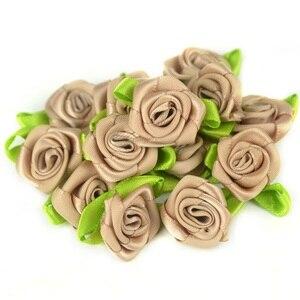 Image 3 - 50 teile/los 2CM Künstliche Seide Mini Rose Blume Köpfe Machen Satin Band Handmade DIY Handwerk Scrapbooking Für Hochzeit Dekoration