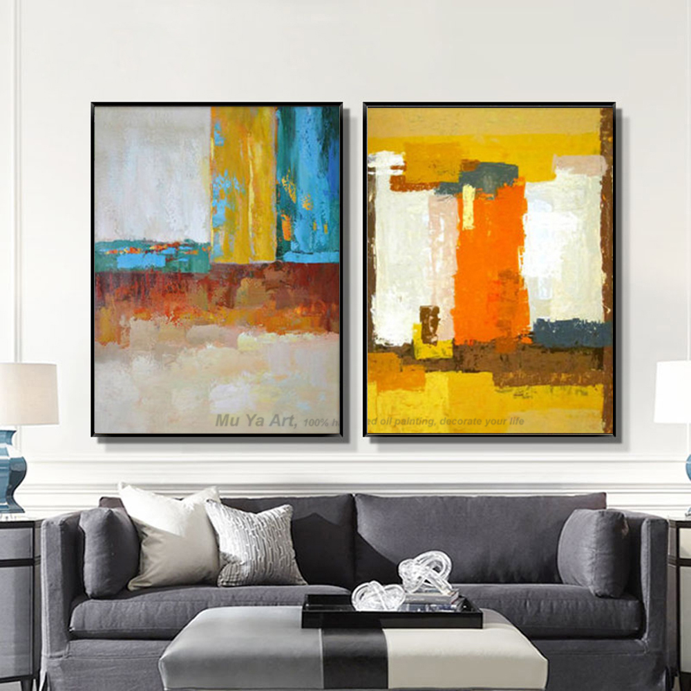 Muya abstract painting large canvas wall art tableau for Decoration coin salon moderne