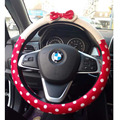 Sweet Cute Steering Wheel Cover For Girls Winter Short Plush Steering-Wheel Covers Pink Bowknot Car Interior Accessories